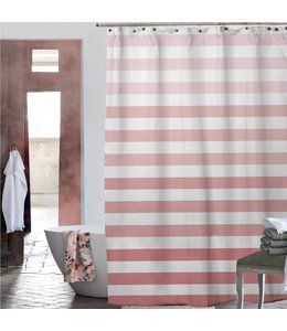 Adrien Lewis Chiara Ombre Stripe Shower Curtain - Fresh Coral