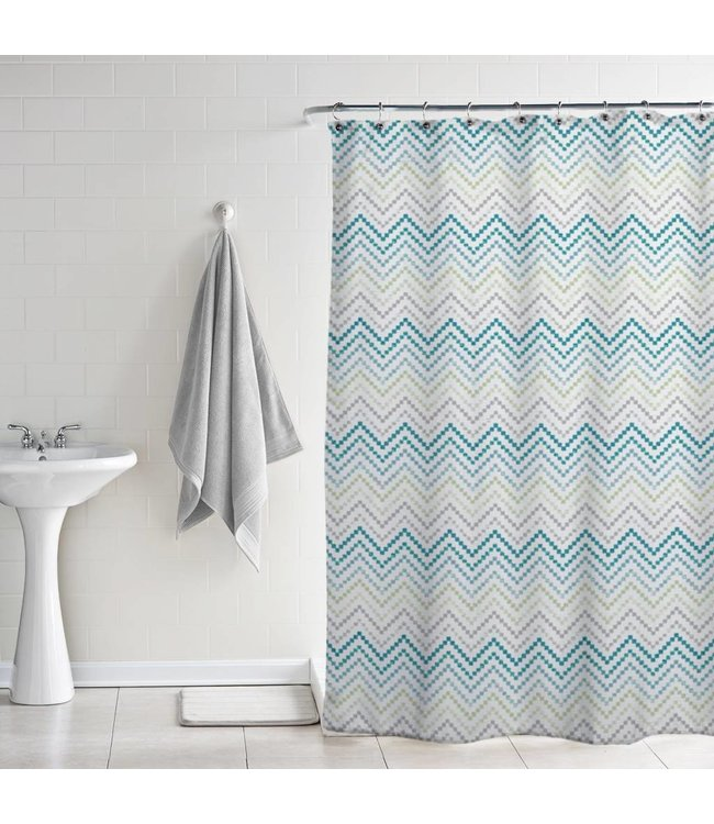 Lauren Taylor Chevron PEVA shower curtain - Spa Aqua
