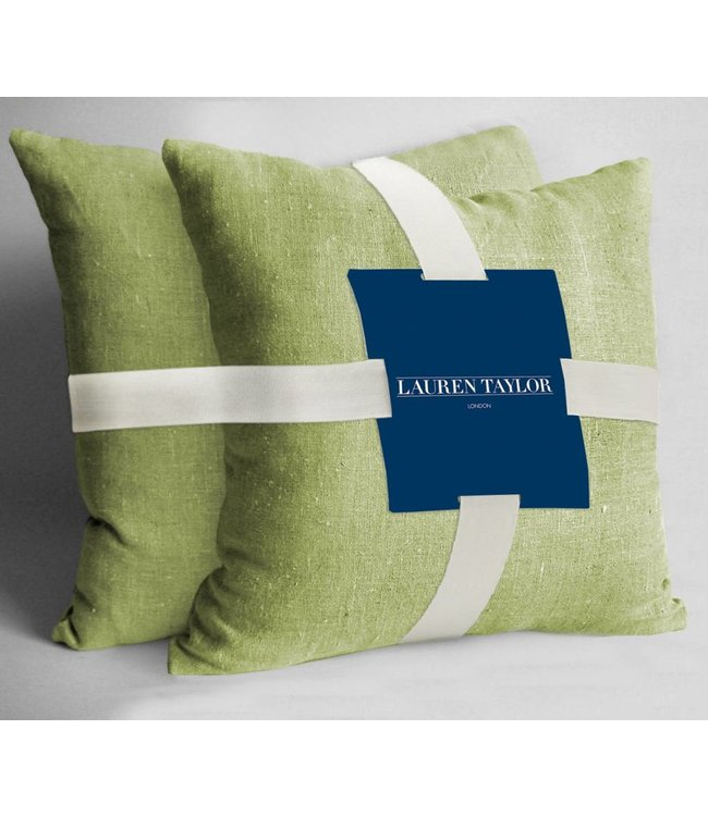 Lauren Taylor Faux Linen Square Throw Pillows - 2 pack