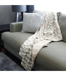 Adrien Lewis TEXTURED FUR THROW  50 X 60, IVORY