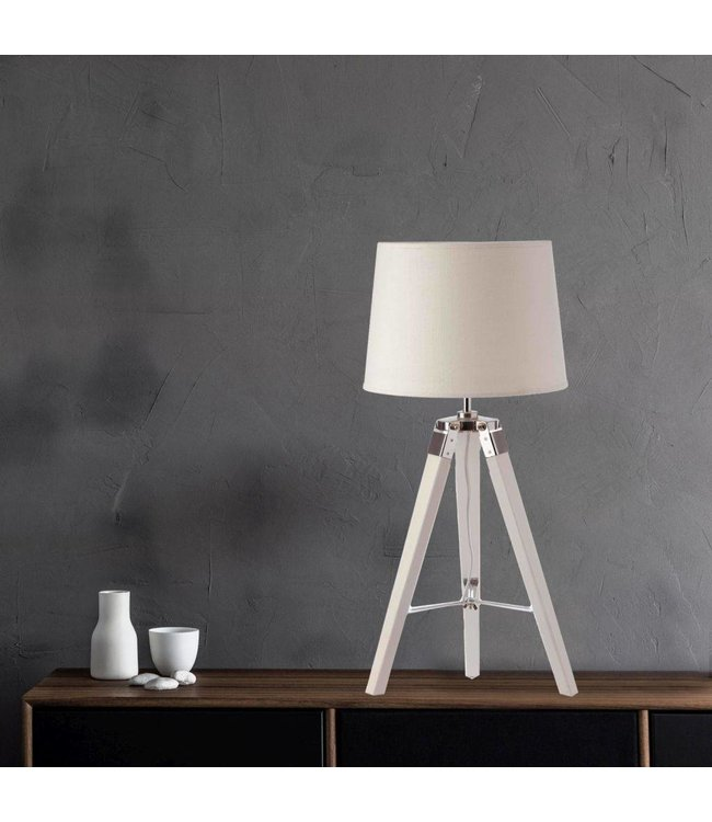 Sandra Venditti Tripod Table Lamp includes Shade and Wooden Base