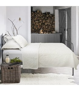 Embroidered Faux Fur Quilt Set - Ivory