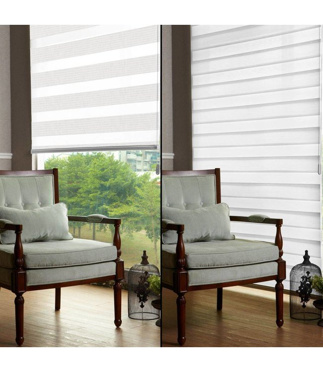 "Lauren Taylor ""Day & Night"" Adjustable White Sheer Roller Blinds with UV Protection in Your Choice of 12 Sizes."