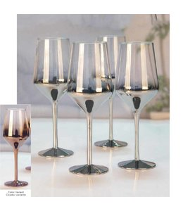 Sandra Venditti 4 Pk Ombre Red Wine Glass Set