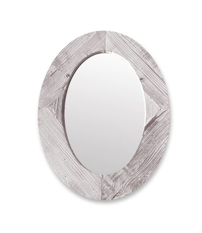 Adrien Lewis Oval Wood Framed Mirror