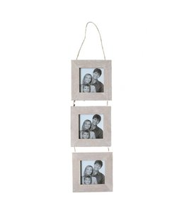 White Washed 3PC Wood Photo Frame