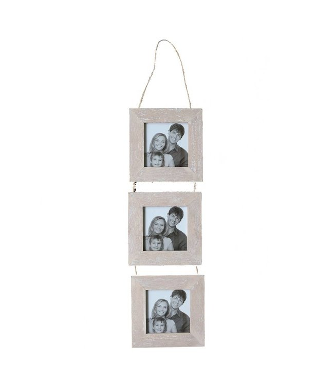 White Washed 3 PC Wood Photo Frame