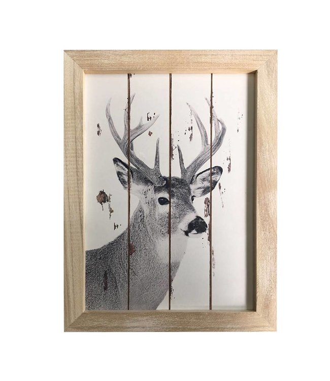 White Washed Wood framed Deer Wall Decor