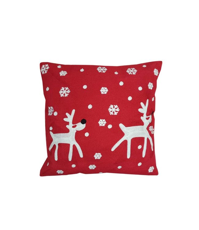 Lauren Taylor Snowfall Reindeer Embroidered Red Cushion