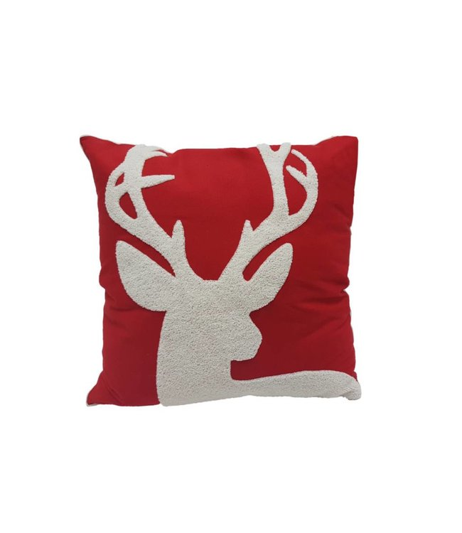 Lauren Taylor Reindeer Embroidered Christmas Cushion