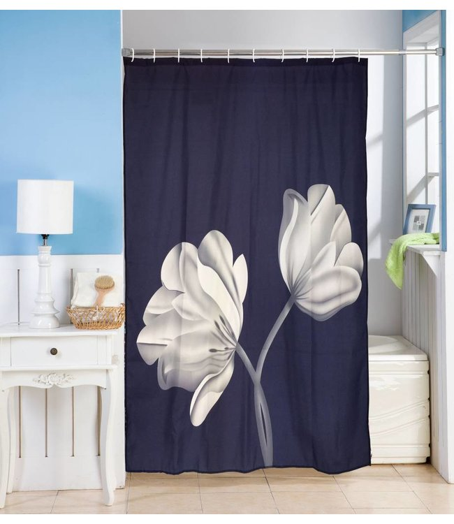 Studio 707 Black/White Fabric Shower Curtain w/Hooks