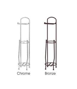 Sandra Venditti Chrome Standing Toilet Paper Holder & Roll Reserve