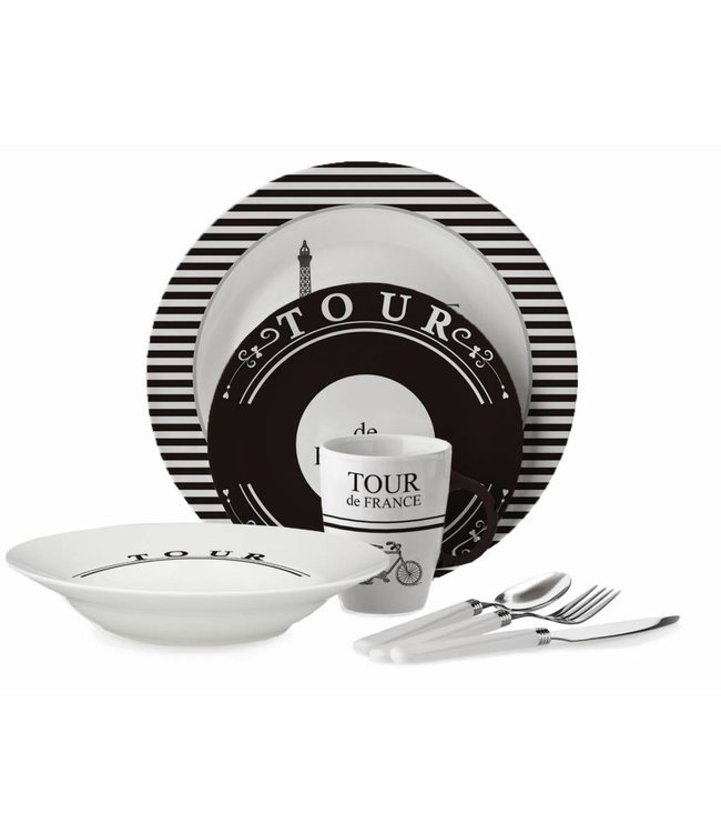 Adrien Lewis 16 Piece Tour De France Dinnerware Set