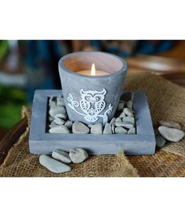Studio 707 Wise Owl Votive Candle with Cement Tray