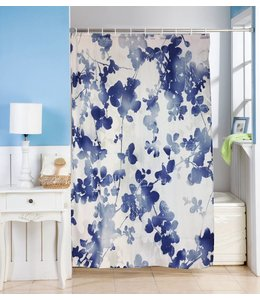 Studio 707 Blue & White Fabric Shower Curtain and Hook Set