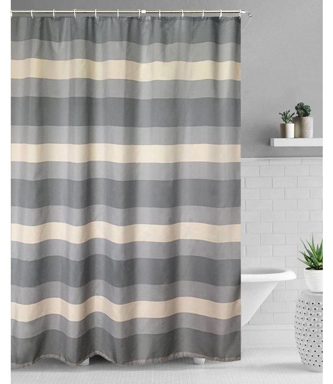 "Lauren Taylor ""Arthur"" Striped Fabric Shower Curtain"