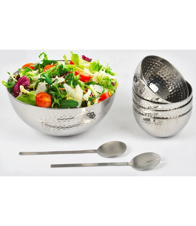 A. La. Cuisine 7 Pc Hammered Stainless Steel Salad Serving Set
