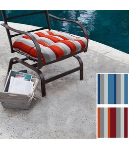 Lauren Taylor Outdoor Striped padded Chair Pads - Red