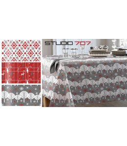 "Studio 707 Xmas Printed Vinyl Tablecloth 60"" - Round"