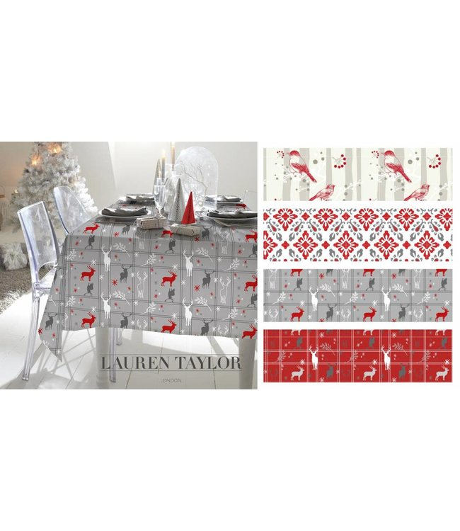"Lauren Taylor Printed Fabric Xmas Tablecloth - 60 x 102"" Oblong"