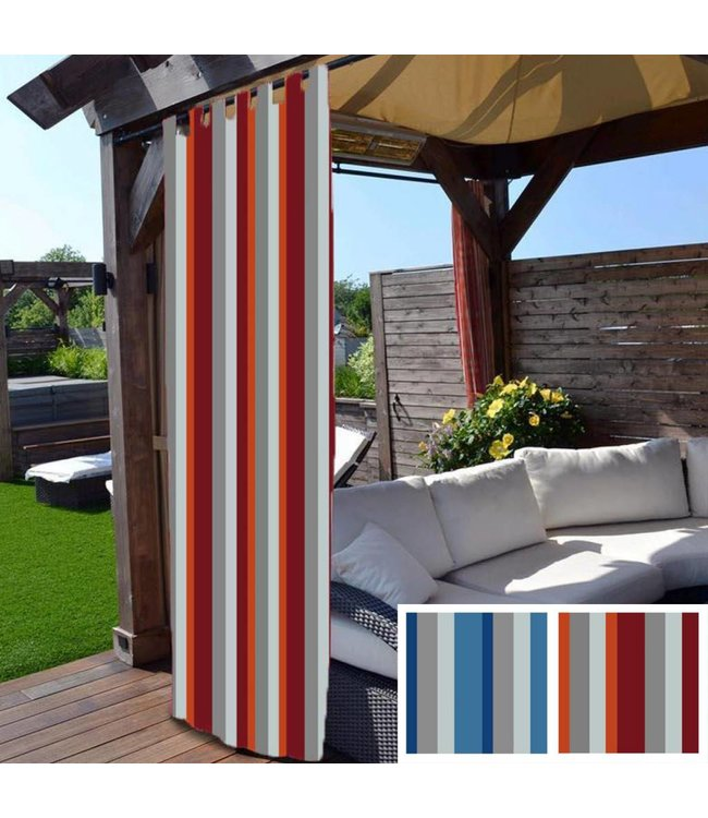 "Lauren Taylor Outdoor Striped Tab Panels - Red- 52"" x 90"""