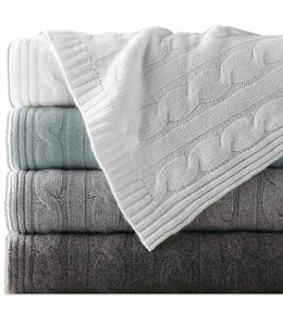 Lauren Taylor Sculptured woven cable Knit Throw Blanket