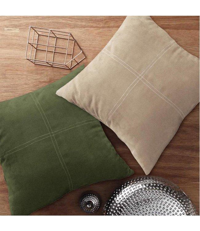 Lauren Taylor Solid Color Faux Suede Cross Stitch Cushions