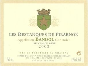 Bandol Rouge 'Les Restanques de Pibarnon' Domaine Pibarnon 2014 - 3/6/12pk