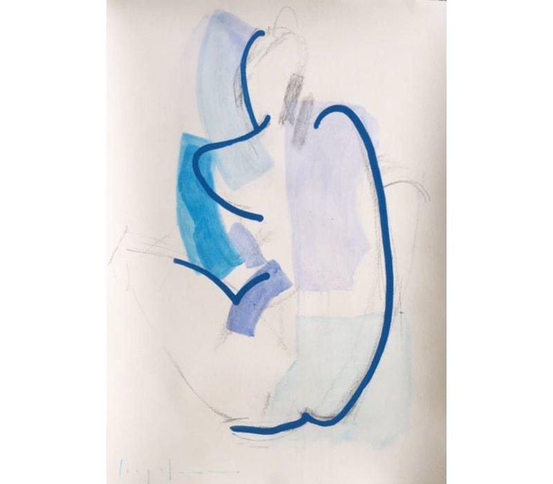"""Kate Long Stevenson """"Untitled in Blue I"""" Framed"""