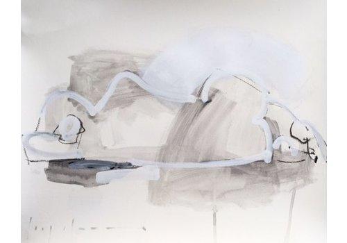 """Kate Long Stevenson """"Untitled in White I"""" Framed"""