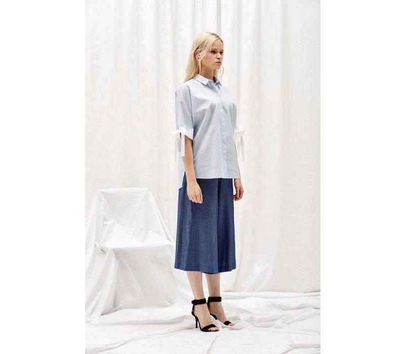 Alani the Grey Tied Sleeve Shirt