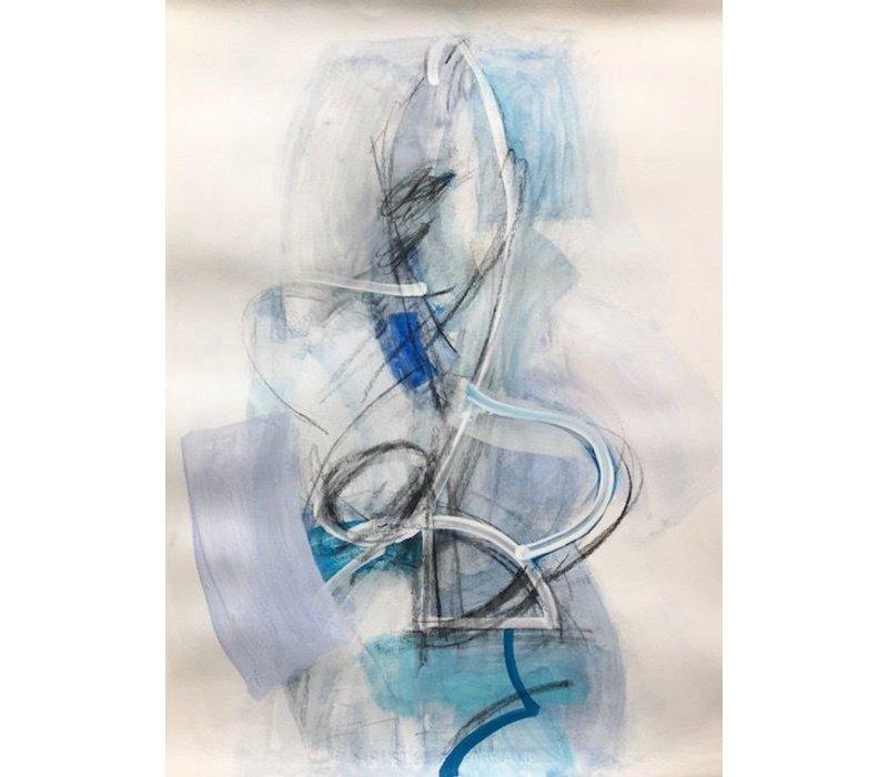 """Kate Long Stevenson """"Untitled I, Blue Abstract"""" Framed"""