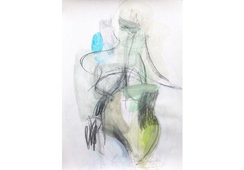"Kate Long Stevenson ""Untitled II, Green Abstract"" Framed"
