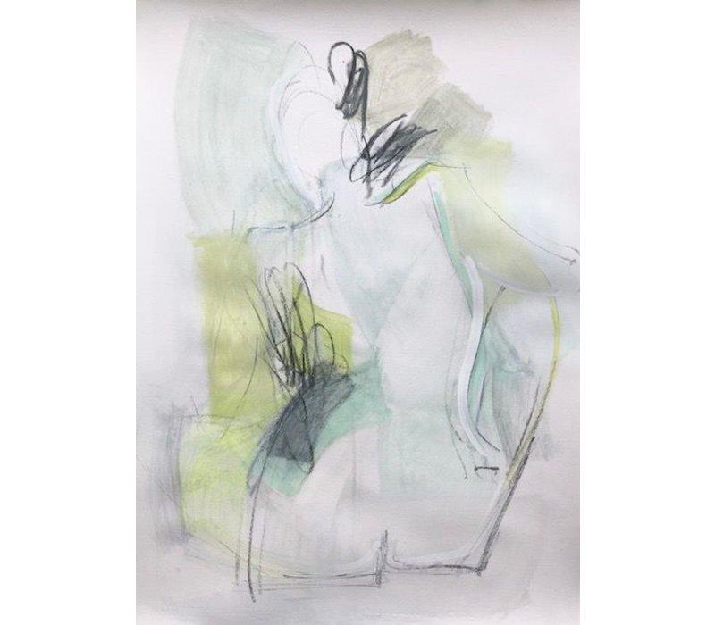 """Kate Long Stevenson """"Untitled IV, Green Nude"""" Framed"""