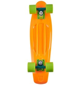 Ten Toes Board Emporium QUIP Mini Cruiser Skateboard. Neon Orange and Lime