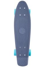 Ten Toes Board Emporium QUIP Mini Cruiser Skateboard. Grey and Aqua