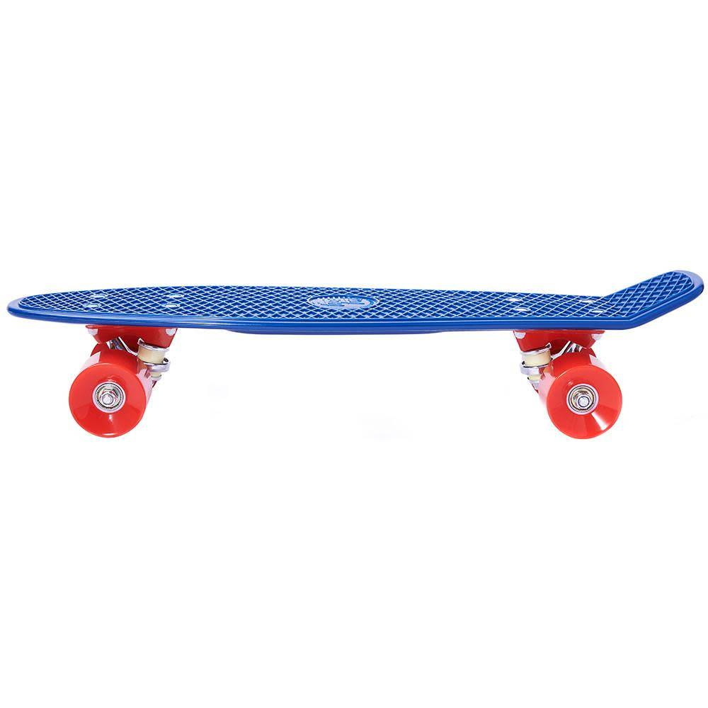 Ten Toes Board Emporium QUIP Mini Cruiser Skateboard, Navy and Red