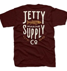 Jetty Bass Supply Tee - Burgundy, S