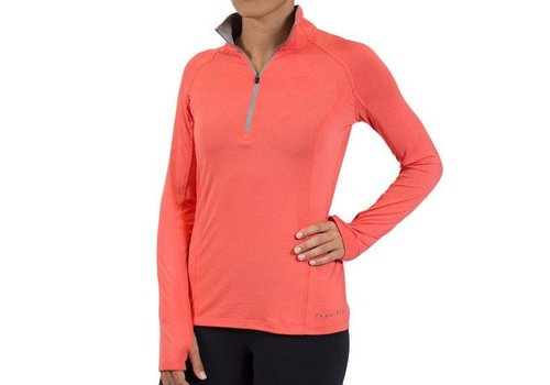 FREE FLY Free Fly - Women's Bamboo Midweight Quarter Zip, Coral, XS