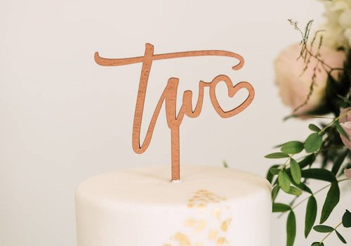 HAPPILY EVER ETCHED Number Cake Topper, Wood