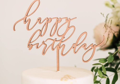 HAPPILY EVER ETCHED Elegant Happy Birthday Cake Topper, Wood
