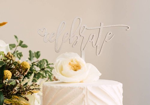 HAPPILY EVER ETCHED Celebrate Cake Topper, Wood