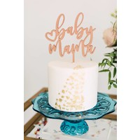 Baby Mama Cake Topper, Wood