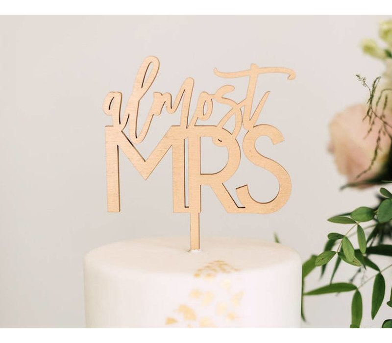 Almost Mrs Cake Topper, Wood