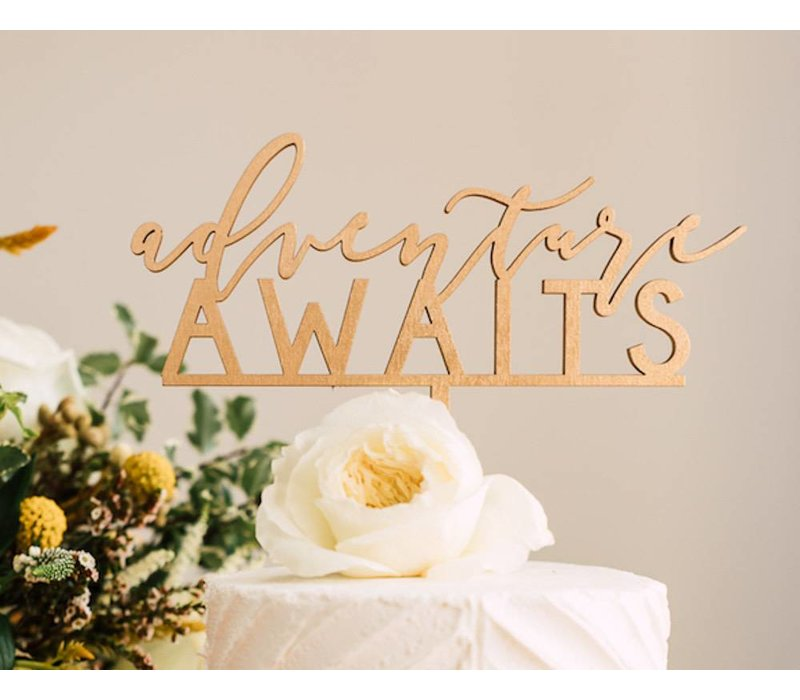 Adventure Awaits Cake Topper, Wood