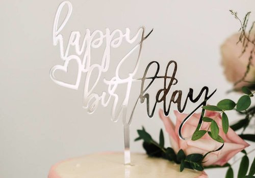 HAPPILY EVER ETCHED Trendy Happy Birthday Cake Topper, Acrylic