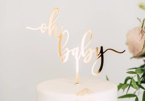 HAPPILY EVER ETCHED Oh Baby Cake Topper, Acrylic