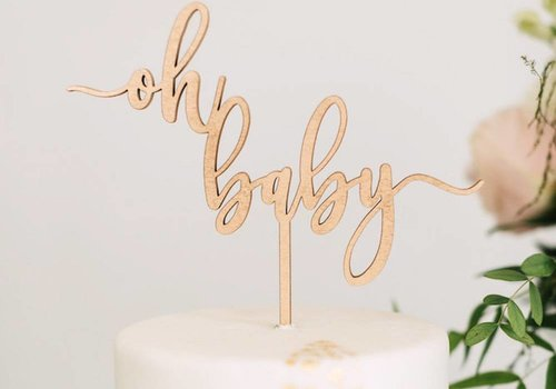 HAPPILY EVER ETCHED Oh Baby Cake Topper, Wood
