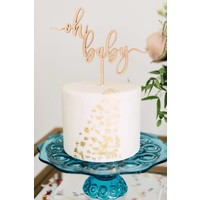 Oh Baby Cake Topper, Wood
