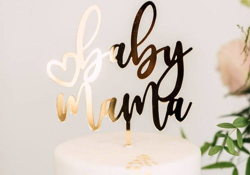 HAPPILY EVER ETCHED Baby Mama Cake Topper, Acrylic